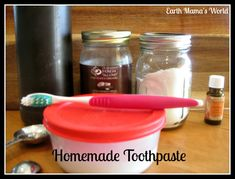 I have been researching homemade toothpaste recipes for a few weeks. Today I mixed up my first batch of homemade toothpaste. I am so happy that another chemical filled store-bought product in our home has been replaced with a homemade natural product. My husband cracks up at how excited I get
