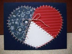 handmade card ... patchwork heart ... red, white and blue ... hand stitched ...