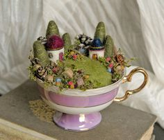 Tiny Fairy Houses Waldorf Fairy Garden In A Teacup - by Mary, gingerlittle (Etsy). Sold