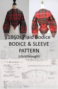 1860s Bodice Sleeve Pattern (clickthrough for full size pattern and instructions)