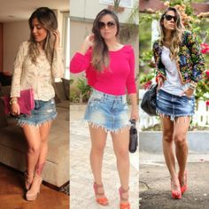 looks com mini saia jeans de bico