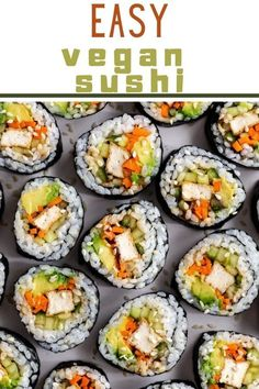 Who knew that making vegetarian sushi at home is SO EASY!? This Easy Vegan Sushi recipe is perfect for beginners, is made with simple ingredients and tastes SO so good. You're going to find yourself craving this recipe ALL of the time. Vegetarian Sushi Recipes, Sushi Roll Recipes, Vegan Recipes Easy, Vegan Meals, Sushi For Kids, Sushi At Home, Kid Sushi, Sushi Sushi, Easy Sushi Rolls
