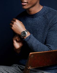 J.Crew men's Mougin & Piquard for J.Crew watch in Océanique. To preorder call 800 261 7422 or email erica@jcrew.com.