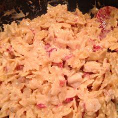 Homemade chicken spaghetti--chicken, rotel, velveeta cheese, cream of chicken soup, and noodles!!