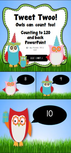 Owls help you count to 120 and back. This is a fantastic counting tool. You can click through it or let the PowerPoint run automatically while your students count. This product can be used throughout the whole year. $