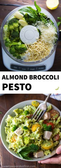 An easy, healthy 30-minute dinner recipe! This Almond Broccoli Pesto Pasta recipe with Chicken is a healthier pesto option - perfect on pasta with cherry tomatoes!
