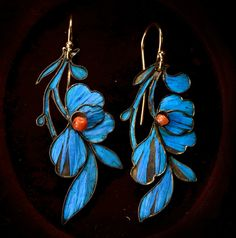 Century Chinese Kingfisher Feather & Coral Earrings, Wires, (sold) These are as found, but were likely adapted into earrings from something else– probably a hair ornament. They work well as earrings though, and the color and sheen of the. Art Nouveau Jewelry, Jewelry Art, Jewelry Accessories, Jewelry Design, Coral Earrings, Feather Earrings, Drop Earrings, Jewellery Earrings, Ancient Jewelry
