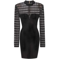 Balmain Knitted Dress (10790 MAD) ❤ liked on Polyvore featuring dresses, long sleeve dresses, black, short, balmain, balmain dress, longsleeve dress and short dresses