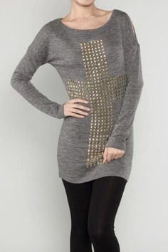 $46.00  http://www.shopamourboutique.com/new-arrivals/product/3276-cross-stud-sweater-tunic