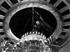 """""""Phantom of the Opera"""" 1943: """"The auditorium -Universal Studios' Stage 28- and stage of the Paris Opera House seen here was the same set built for the 1925 version. It still stands at Universal Studios today, and has been used for countless other productions, including Thoroughly Modern Millie (1967) and The Sting (1973). It is the oldest remaining film set in the world. It has also been used as the interior Paris Opera theatre, for the 1966 Alfred Hitchcock feature """"Torn Curtain,""""."""