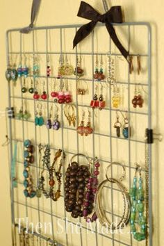Remember the wire cubes that would easily fall apart.... turn it into jewerly organization.... Thanks Then She Made....