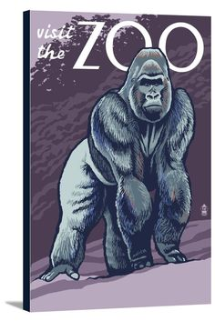 Visit the Zoo 1930s WPA Art Poster Penguins 24x30