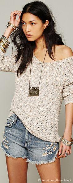 Denim Cut-offs & Lace Back Oversized Pullover