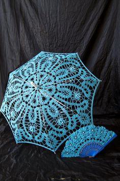 Lace Floral Bridal Parasol and Hand Fan Photo Shoot Movie Session Victorian azure Vintage Wedding Accessories Crochet Sun Umbrella Umbrella Wedding, Sun Umbrella, Lace Weave, Parasols, Bobbin Lace, Embroidery Techniques, Ribbon Embroidery, Vintage Crochet, Hand Fan