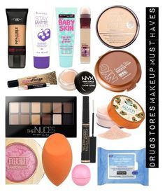 Drugstores Makeup Must Haves by naiomy-melendez-colon on Polyvore featuring polyvore, beauty, Maybelline, Coty, Rimmel, L'OrÃ:copyright:al Paris, NYX, Neutrogena and River Island