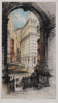 Luigi Kasimir, 1881-1962, Austrian, Bowling Green, New York, etching and aquatint in colors