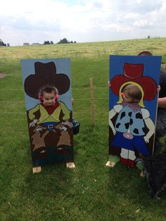 Cowboy and cowgirl cutouts we made for our grandsons 2nd bday party