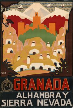 "illustration espagnole : ""Granada & Sierra Nevada"", Espagne, affiche de tourisme,"
