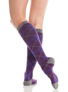 ddefe4b8ec Women's All Over Argyle: Purple & Charcoal (Cotton). Calf Compression SocksHigh  ...