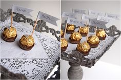 if you're doing assigned seating this is so easy and gold! Ferrero Roche 5-minute escort card display