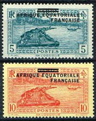 French Equatorial Africa 4 - 5 Stamps - Gabon Stamps - AF FEA 4 to 5-1 MH