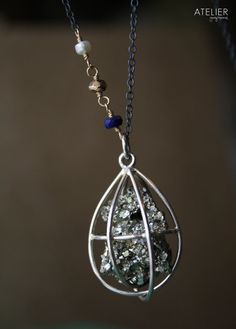 Pyrite Cage in Sterling Silver Necklace by ATELIERGabyMarcos, $129.00