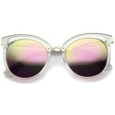 Oversize Women's Translucent Color Mirror Lens Sunglasses A247 - Clear Pink Mirror