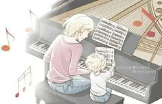 Mama Agreste and little Adrien playing the piano
