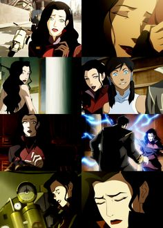 """Read original post for full comments: """"Asami was immediately pegged as Evil because a) she wears make-up and she's feminine and b) she's a rival for Mako's affections. Thus she must be a bad guy, right? Korra likes Mako and Korra's the Hero, thus she's the Good Girl, so if Asami likes Mako, that means Asami is the Bad Girl. """"She wears short skirts, I wear sneakers,"""" etc. But of course, Asami is one of the kindest characters in all the Avatar universe"""" via albinwonderland.tumblr.com"""