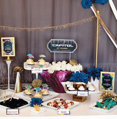 capitol-inspired-dessert-table--Hunger Games party- sorry, one more @Rachel Hager - for the DVD release!
