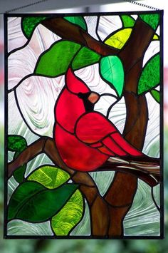 Stained/Leaded Glass Art Nouveau stained glass window by Louis Comfort… Stained Glass Cardinal, Stained Glass Quilt, Stained Glass Birds, Faux Stained Glass, Stained Glass Designs, Stained Glass Panels, Stained Glass Projects, Stained Glass Patterns, Fused Glass