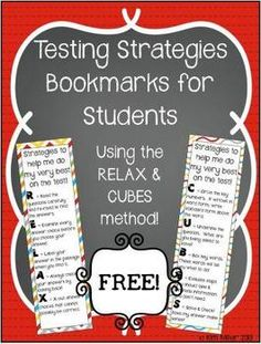 FREEBIE!!! These bookmarks are great to print for students for end of grade test review! The mnemonics include: RELAX (for reading strategies) and CUBES (for math strategies). The strategies are used for taking multiple choice end of grade tests. http://www.teacherspayteachers.com/Store/Kim-Miller-24