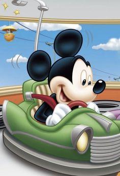 Mickey riding a bumper car Arte Do Mickey Mouse, Mickey Mouse And Friends, Disney Mickey Mouse, Disney Cartoon Characters, Cartoon Pics, Disney Cartoons, Cartoon Art, Mickey Mouse Pictures, Disney Pictures