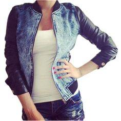 Mujeres moda Denim Chaquetas para Mujer ocasionales de la PU Patchwork de cuero Chaquetas básicas Sexy Slim Jeans Denim Jacket Coat Chaquetas Mujer