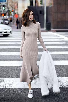 Платье в рубчик на улицах мира 4