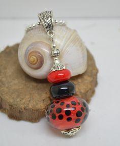 RESERVE collier 50 cm perles verre filé au chalumeau rouge noir chaine argent 925 collier rose : Collier par liloo-creations