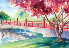 """""""Japanese Bridge"""" by Denise Schiber of Madison, Alabama (scene is of a place within Big Spring Park in downtown Huntsville, Alabama)  Simply beautiful!"""