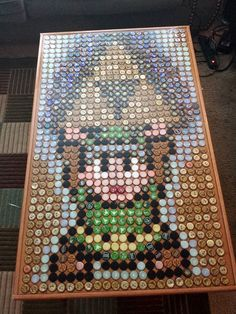 Legend of Zelda Bottle Cap Table Art - Ben would love it! Bottle Top Crafts, Bottle Cap Projects, Diy Bottle, Beer Bottle, Beer Cap Art, Beer Caps, Bottle Cap Table, Bottle Cap Art, Legend Of Zelda