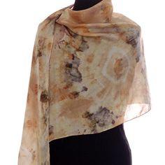 Shibori Silk Scarf Tie Dyed Eco Print Starburst by ObovateDesigns, $80.00
