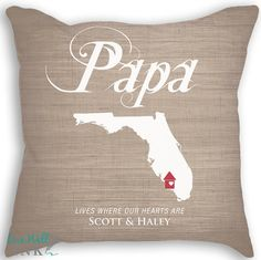State Love Pillow  Pillow with Insert  Custom Names by livewellink