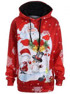 4fc1e0f80eb Plus Size Snowman Kangaroo Pocket Christmas Hoodie - RED