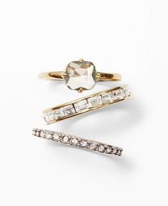 Pave and Baguette Stackable Rings