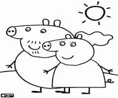 Omalovánka Rodiče Prasátko Peppa chůze pod sluncem