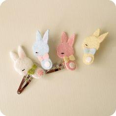 bunny barrette/brooch tutorial:  http://gingermelondolls.blogspot.ca/2012/03/bunny-barrette-and-brooch-tutorial.html