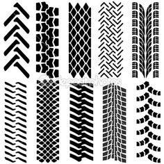Conjunto de neumático detallado estampados, ilustración vectorial — Ilustración de stock #36904403