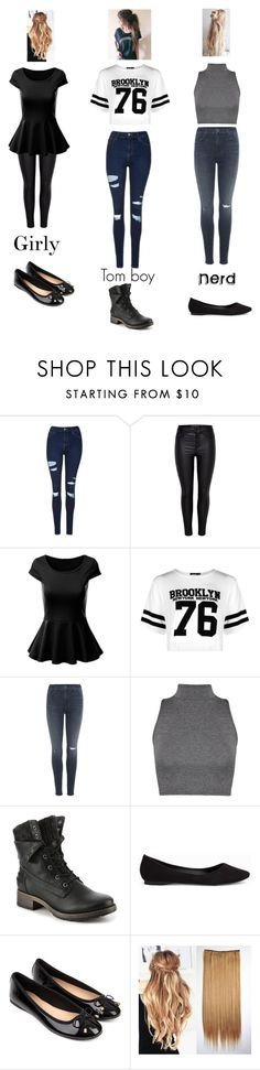 """The three best friends"" by bl-youngb ❤ liked on Polyvore featuring Topshop, Boohoo, J Brand, WearAll, Nly Shoes and Accessorize"
