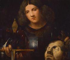 1510.Giorgione.David with the Head of Goliath.High Renaissance.wood  74.5x65cm.Kunsthistorisches Museum,Vienna,Austria.