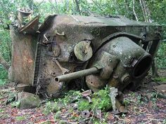 A Sherman tank wreck still abandoned in the jungle decades after the war