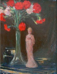 The Carnations - Kimon Loghi · unknown Art Database, Carnations, Impressionism, Flower Art, Still Life, Floral, Flowers, Artist, Artwork