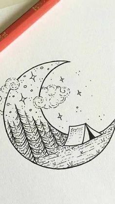 Art Drawings Sketches Simple, Pencil Art Drawings, Doodle Drawings, Doodle Art, Easy Drawings, Tatuagem Diy, Simple Artwork, Artist Sketchbook, Doodle Designs
